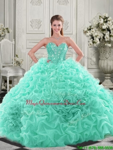 Pretty Puffy Skirt Visible Boning Apple Green Quinceanera Dress with Beading and Ruffles