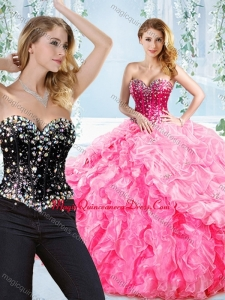 Puffy Skirt Visible Boning Beaded Detachable Quinceanera Gown in Rose Pink