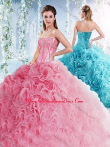 Visible Boning Beaded Bodice Detachable Quinceanera Skirts in Rolling Flowers