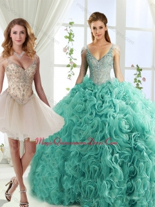 Classic Rolling Flowers Deep V Neck Detachable Sweet 16 Dresses with Cap Sleeves