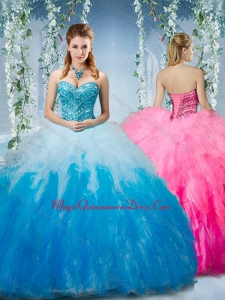 Classic Gradient Color Big Puffy Quinceanera Dress with Beading and Ruffles