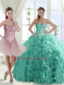 Decent Rolling Flowers Really Puffy Formal Quinceanera Dresses with Beading