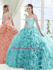 Exclusive See Through Back Beaded Classic Quinceanera Dresses with Straps