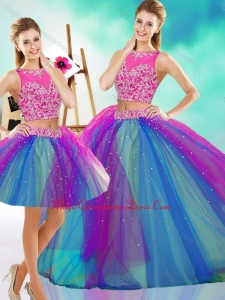 Lovely Beaded Scoop Tulle Classic Quinceanera Gown in Rainbow Colored