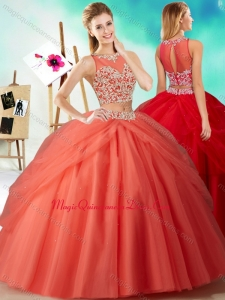 Two Piece See Through Beaded Classic Quinceanera Dress in Orange Red