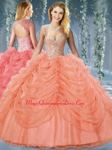 Formal Beaded and Bubble Big Puffy Organza Sweet 16 Dress in Orange Red