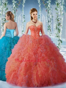 Popular Beaded and Ruffled Quinceanera Dress with Big Puffy