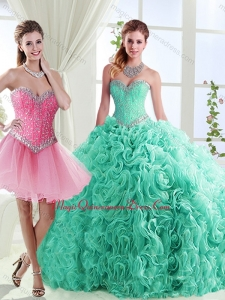 Romantic Rolling Flowers Really Puffy Detachable Quinceanera Dresses in with Beading
