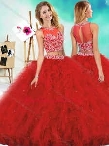 See Through Two Piece Red Quinceanera Dress with Beading and Ruffles