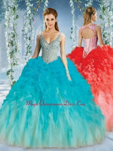 Couture Deep V Neck Big Puffy Quinceanera Dresses with Beaded Decorated Cap Sleeves