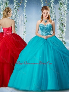 Cute Beaded and Ruffled Big Puffy Quinceanera Dress in Baby Blue