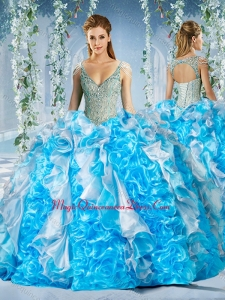 Cute Blue and White Quinceanera Dress in Beaded Decorated Cap Sleeves