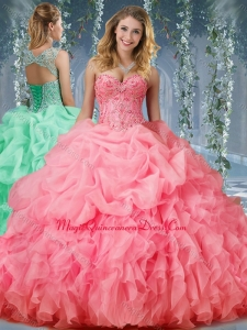 Cute Organza Big Puffy Watermelon Quinceanera Dress with Beading and Ruffles