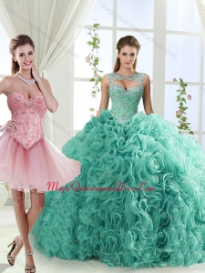 Fashionable Brush Train Detachable Quinceanera Skirts with Beading and Rolling Flower