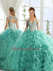 Sexy Deep V Neck Mint Detachable Quinceanera Skirts with Beading and Appliques