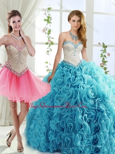 Sophisticated Rolling Flowers Detachable Quinceanera Skirts with Brush Train