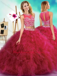 Classical Beaded and Ruffled Fuchsia Sweet 15 Dress with See Through