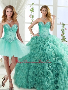 Feminine Visible Boning Beaded Detachable Sweet 15 Quinceanera Gowns in Rolling Flowers