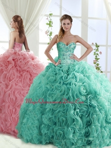 Gorgeous Beaded Brush Train Detachable Quinceanera Skirts with Rolling Flower