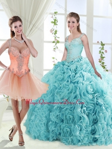 Gorgeous Beaded Straps Detachable Quinceanera Skirts with See Through Back