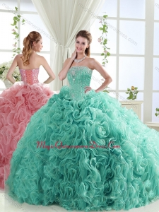 Lovely Brush Train Mint Detachable Sweet 15 Quinceanera Dresses with Beading