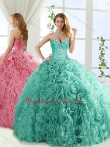 Popular Rolling Flower Mint Detachable Quinceanera Skirts with Brush Train