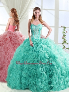 Visible Boning Beaded and Applique Detachable Sweet 15 Quinceanera Dresses in Rolling Flowers