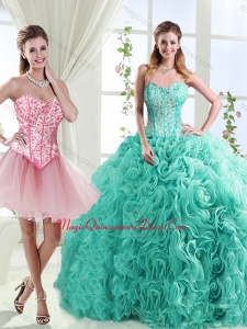 Visible Boning Rolling Flowers Detachable Quinceanera Skirts with Beading