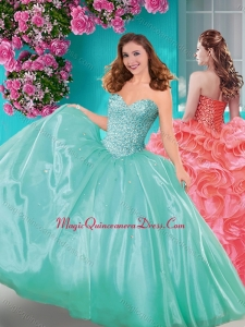 Discount Really Puffy Beaded and Ruffled Quinceanera Dress with Floor Length