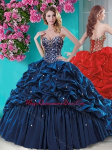 Fashionable Beaded and Ruffled Quinceanera Dress with Brush Train