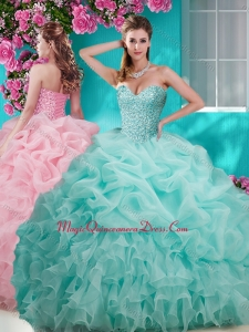 Flirting Brush Train Really Puffy Quinceanera Dress with Beading and Ruffles