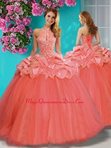 Lovely Beaded and Ruffled Big Puffy Quinceanera Dress with Halter Top