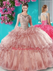 Really Puffy Beaded Bodice Scoop Organza Quinceanera Dress in Brown