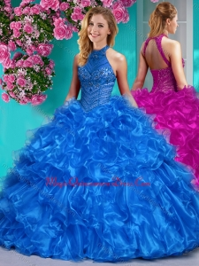 Beautiful Halter Top Beaded and Ruffled Sweet 15 Quinceanera Dress in Royal Blue