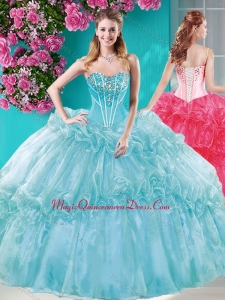 Big Puffy Ruffled Turquoise Quinceanera Dresses with Beaded Bodice