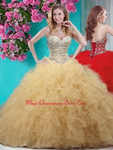 Classical Gold Really Puffy Sweet 15 Quinceanera Dress with Beading and Ruffles