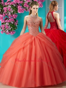Elegant Halter Top Beaded and Applique Quinceanera Dress in Orange Red