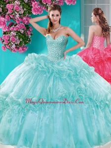 Exquisite Beaded and Pick Ups Quinceanera Dress with Really Puffy