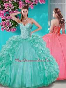 Fashionable Beaded and Ruffled Taffeta Sweet 15 Quinceanera Dress in Really Puffy