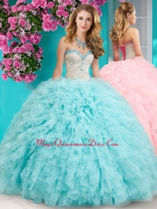 Feminine Really Puffy Floor Length Sweet 15 Quinceanera Dress with Beading and Ruffles