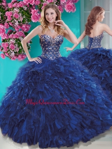 Luxurious Brush Train Blue Sweet 15 Quinceanera Dress with Beading and Ruffles