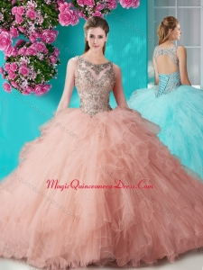 See Through Open Back Beaded and Ruffled Quinceanera Dress in Organza