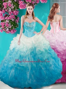 Beautiful Beaded Bust White and Blue Sweet 15 Quinceanera Dress in Organza