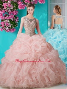 Brush Train Scoop Peach Sweet 15 Quinceanera Dress with Beading and Ruffles