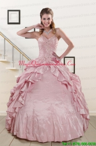 2015 Sweet Spaghetti Straps Quinceanera Dresses in Pink
