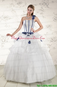 Custom Made White One Shoulder Hand Made Flower Quinceanera Dress for 2015