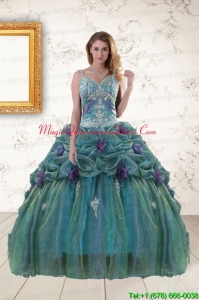 Pretty Straps Appliques Quinceanera Dresses for 2015