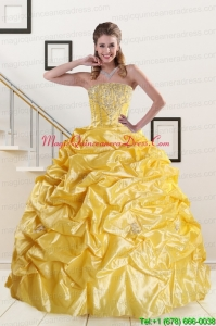 Yellow Beading Strapless 2015 Quinceanera Dresses with Sweep Train
