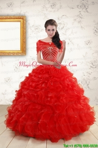2015 Ball Gown Beading Quinceanera Dresses in Red