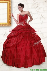 2015 Wine Red Sweetheart Quinceanera Dresses with Embroidery